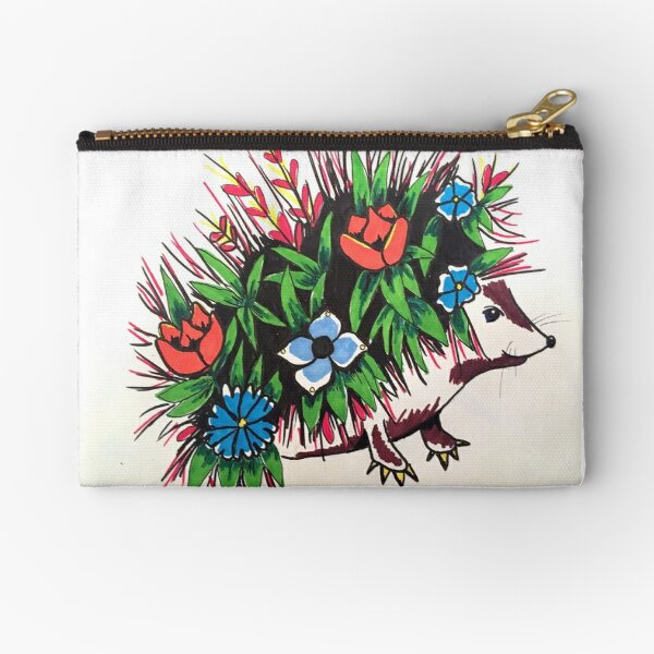 """Shy"" A Floral hedgehog Zipper Pouch"