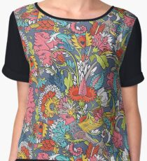 Vintage floral seamless pattern with bird Women's Chiffon Top