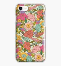 Vector floral patterns with birds and flowers iPhone Case/Skin