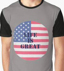 American Life Is Great USA Flag Design Graphic T-Shirt