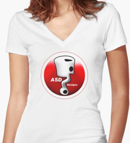 ASD Red and White logo Women's Fitted V-Neck T-Shirt