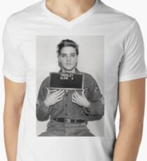 ELVIS ARMY MUGSHOT Men's V-Neck T-Shirt