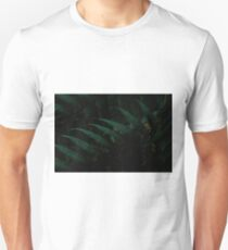 mystical magical fern leaf blue green dark closeup T-Shirt
