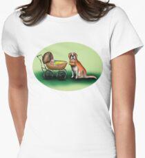St Bernard and baby Women's Fitted T-Shirt