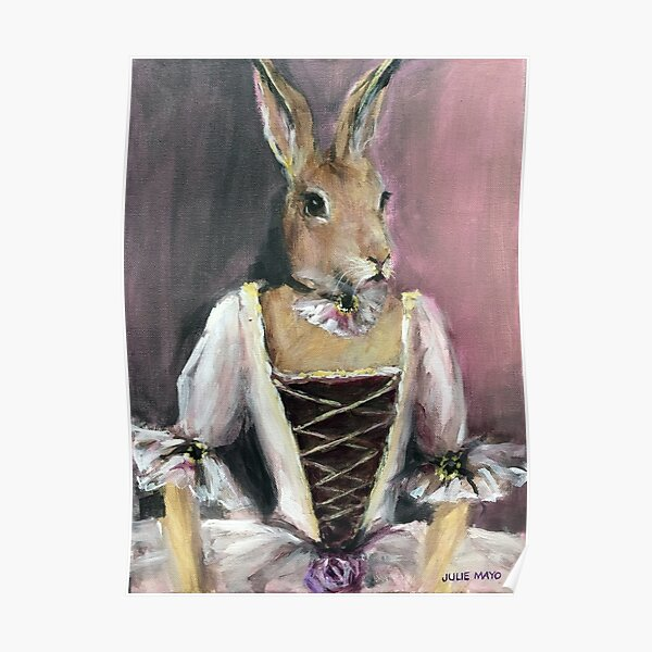 Pink Bunny portrait painting Poster