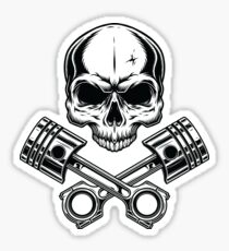 Motorcycle Pirate Skull with Engine Sticker