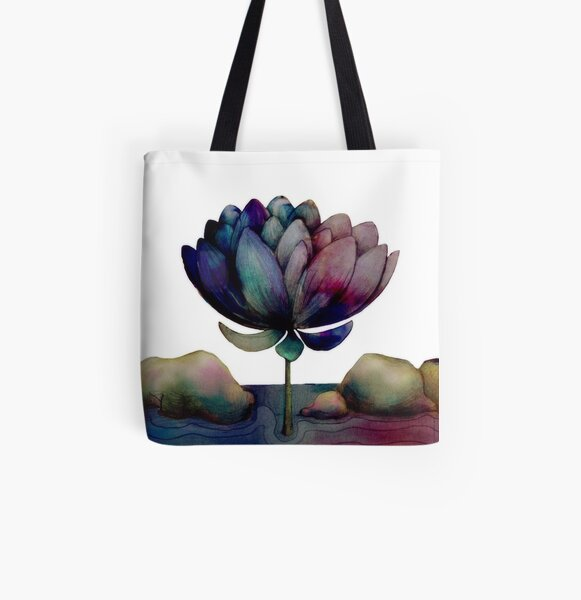 rainbow lotus flower All Over Print Tote Bag