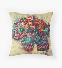Vintage Elephant Throw Pillow
