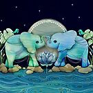 Lotus Flower Elephants Ocean Blue and Sea Green by Karin Taylor