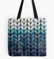 Chunky Ocean Blue Knit Tote Bag