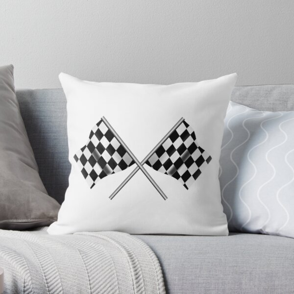 RACE. Checkered Flag. Crossed, WIN, WINNER, Chequered Flag, Racing Cars, Race, Finish line, on WHITE. Throw Pillow