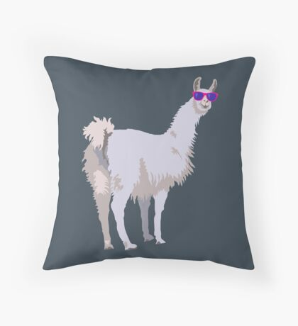Cool Llama In Sunglasses Throw Pillow