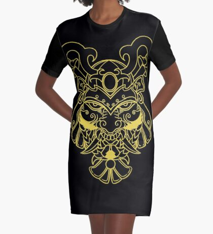Golden Samurai Graphic T-Shirt Dress