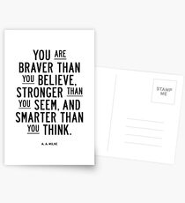 You Are Braver Than You Believe Stronger Than You Seem and Smarter Than You Think Postcards