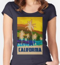 California, Sunset Sky Women's Fitted Scoop T-Shirt