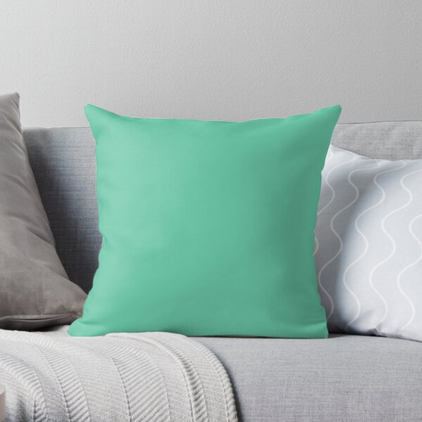PLAIN  MEDIUM AQUAMARINE-100 TURQUOISE AND AQUA  AND CYAN SHADES ON OZCUSHIONS ON ALL PRODUCTS Throw Pillow