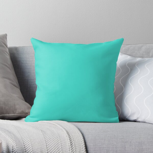 PLAIN TURQUOISE -100 TURQUOISE AND AQUA  AND CYAN SHADES ON OZCUSHIONS ON ALL PRODUCTS Throw Pillow