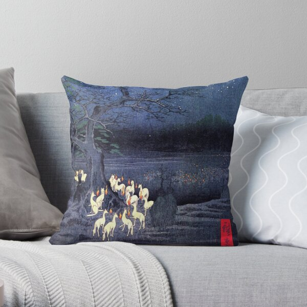 Japanese Print - Hiroshige - kitsune-yokai-fox Throw Pillow