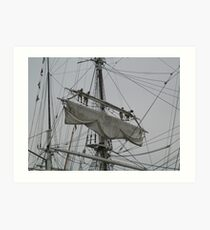 Tightening the main upper topsail Art Print