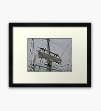 Tightening the main upper topsail Framed Print