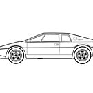 Lotus Esprit S1 Outline Drawing by RJWautographics