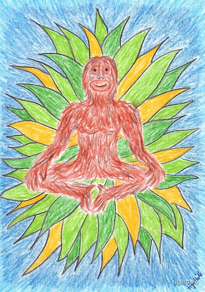 2412 - Meditating Ape in Crown of Leaves von tigerthilo