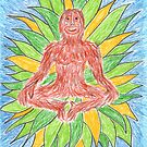 2412 - Meditating Ape in Crown of Leaves by tigerthilo