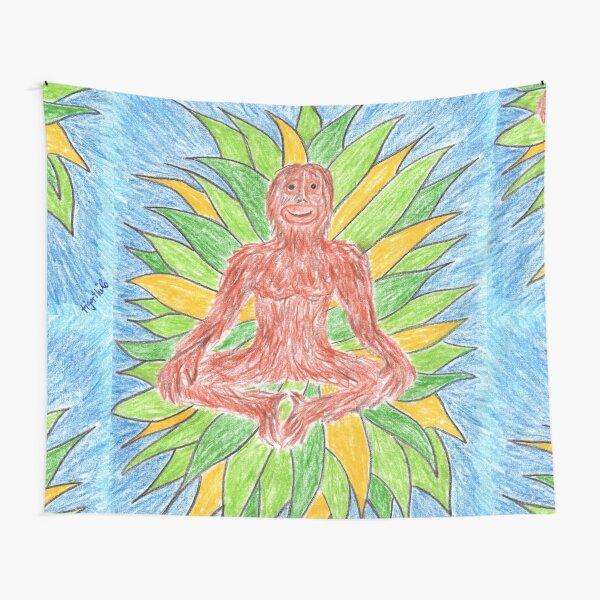 2412 - Meditating Ape in Crown of Leaves Wandbehang