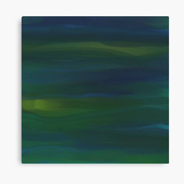 Blue Green Peacock Oil Abstract  Canvas Print