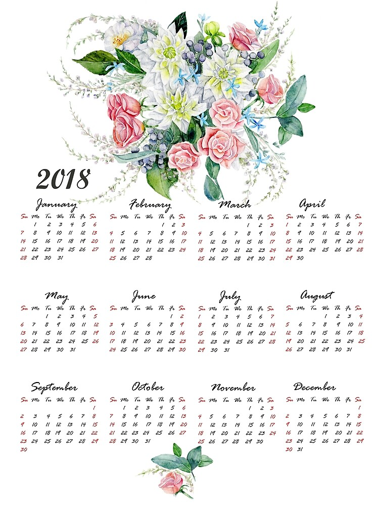 one page floral 2018 calendar by goosi