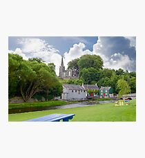 blue bench view at castletownroche park Photographic Print