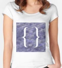 Curly Bracket Icon Isolated on Blue Brick Background Women's Fitted Scoop T-Shirt