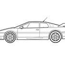 Lotus Esprit S4 V8 Outline Drawing by RJWautographics