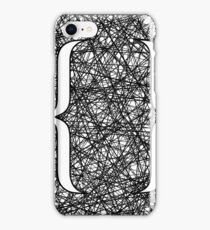 Curly Bracket Icon on Ink Grunge Background iPhone Case/Skin