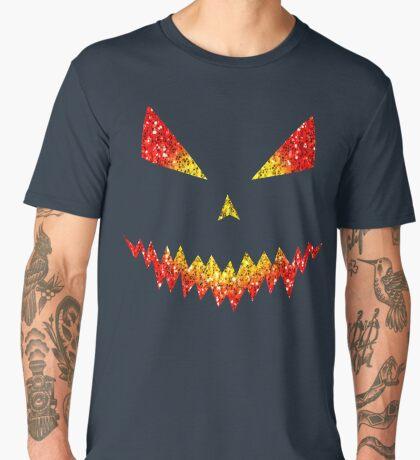 Sparkly Jack O'Lantern face Halloween pattern Men's Premium T-Shirt