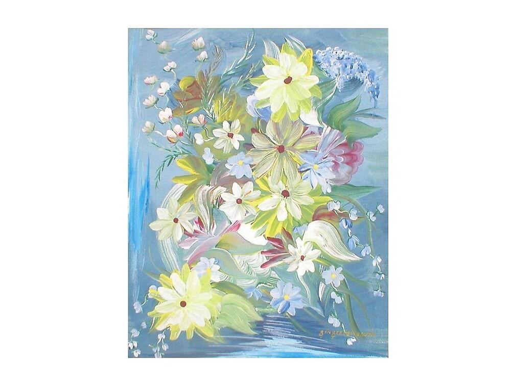 Flowers on Blue by Ginger Lovellette