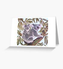 Koalas in a Gum Tree Greeting Card