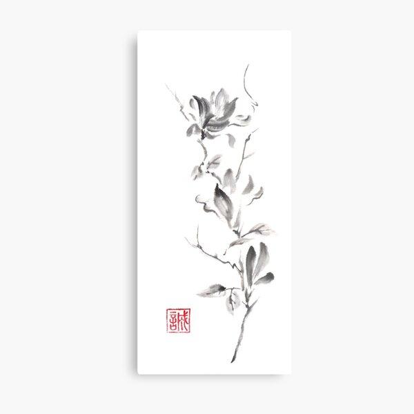 Magnolia scroll sumi-e painting Metal Print