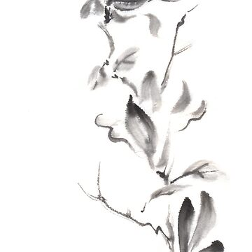 Magnolia scroll sumi-e painting by Umi-ko