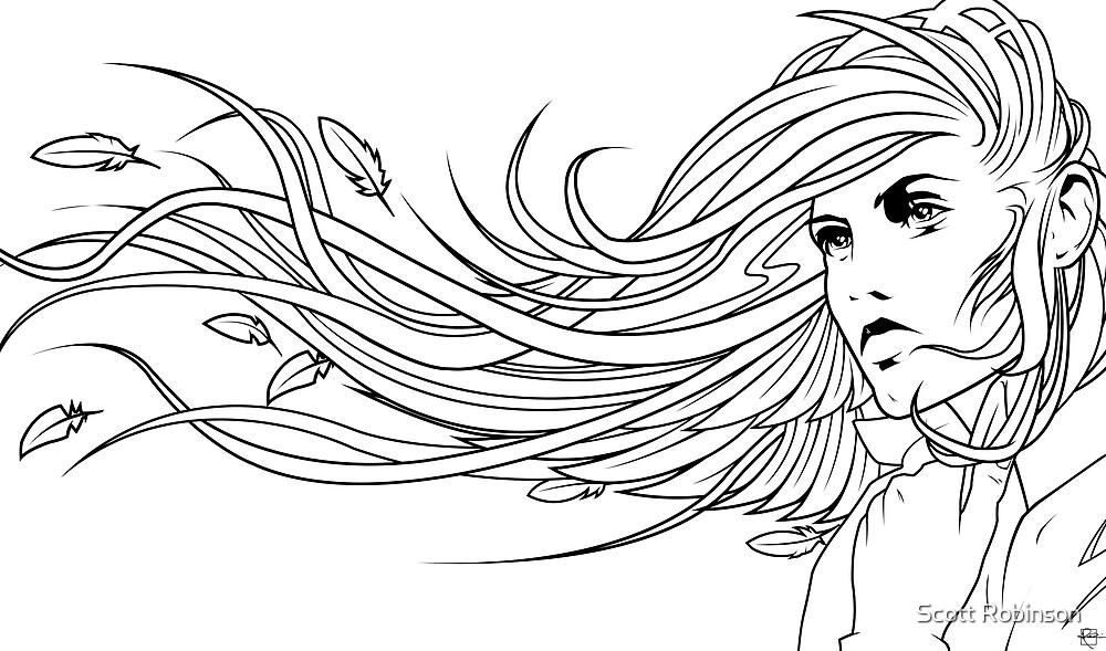 Raven Haired Girl - Print by Scott Robinson