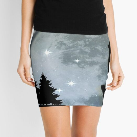 Wolf howling Mini Skirt