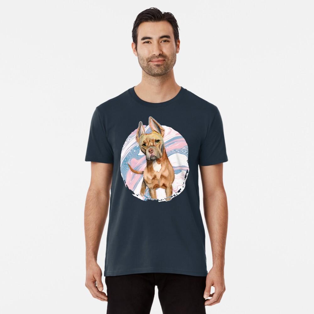 Bunny Ears | Cute Pit Bull Terrier Dog Men's Premium T-Shirt Front