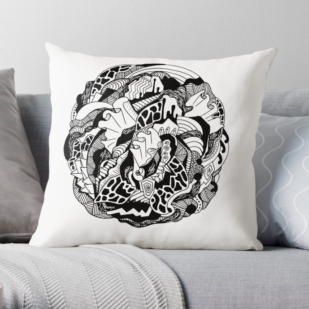 Abstract Wave of Thoughts 1 Throw Pillow