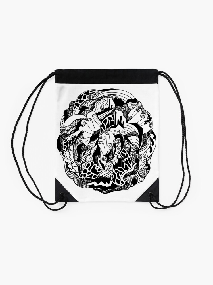 Alternate view of Abstract Wave of Thoughts 1 Drawstring Bag