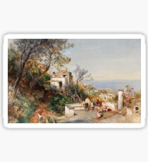 Oswald Achenbach - View over the Bay of Naples (1880) Sticker