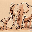 Elephant Watercolor Painting #2 by Rebecca Rees