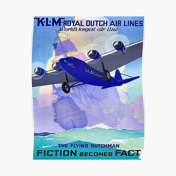 KLM : Flying Dutchman Vintage Travel Advertising Print Poster
