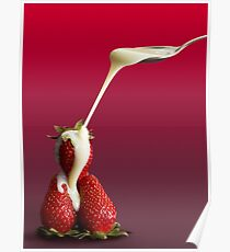 strawberries with condensed milk Poster