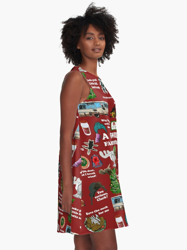 Alternate view of Christmas Vacation Collage A-Line Dress
