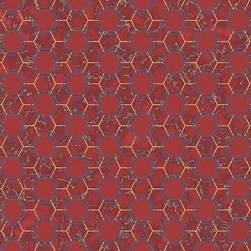Hexagon Red Marble Pattern by pharostores